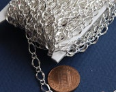5ft of Silver plated hammered chain  soldered chain figure 8  5X8mm