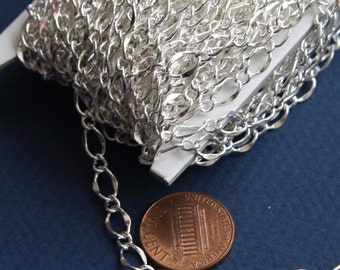 32ft spool of Silver plated chain hammered chain  soldered chain figure 8  chain 5X8mm