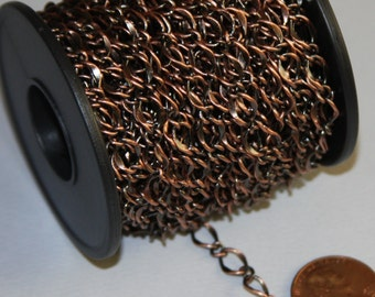 5 ft of Antique Copper Chain high quality hammered  soldered chain 5X8mm links