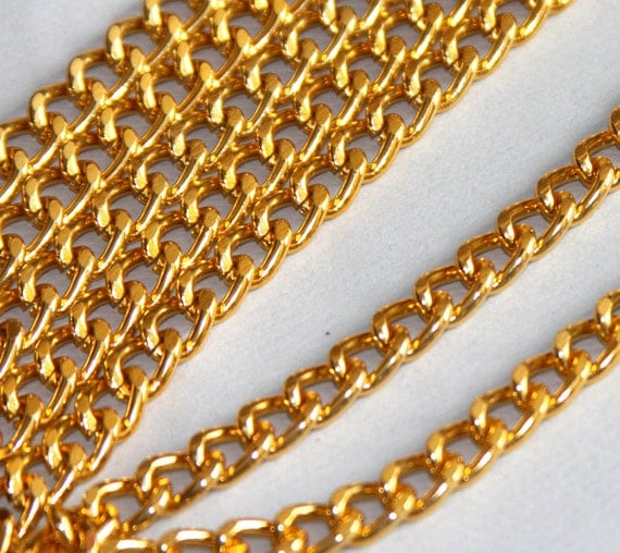 5 ft of Aluminum Curb open link chain  7X10mm -  Gold color