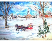WINTER WONDERLAND Sleigh Ride - 11x15 original painting landscape watercolor OOAK, Winter, Snow, Town, Couple, Sleigh, Horse, Bunny, Rabbit