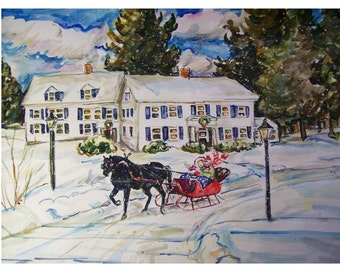 RIDING In The One Horse Sleigh - 11x15 original painting landscape watercolor OOAK, Winter,Snow, Seigh, Horse, Woods, Inn, Forest