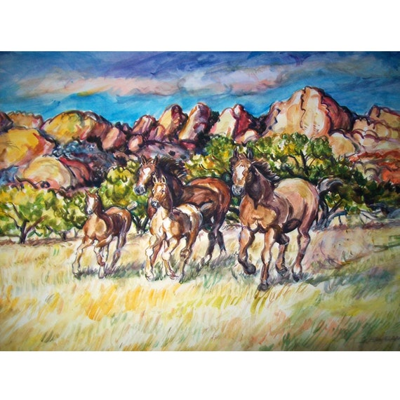 More Western Wild Horses - 11x15 original painting landscape watercolor OOAK, Western, Desert, Wild Horse, Southwest, Mountain
