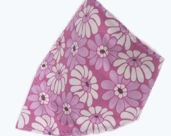 Bandana Bib Dribble Bib Drooler Bib Baby Bib- Purple with White Flowers  READY MADE