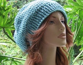 SALE SHOP CLOSING Oct 31...Hats 10 Dollars...Seafoam Crocheted Ladies Slouchy Winter Hat...Ski Hat Beret Tam Snood Rasta  ...  Ready-to-Ship