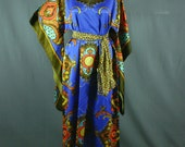 70s Floral Kimono Hostess Gown Muumuu - Vintage Lingerie