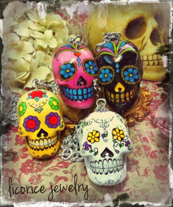 SUGAR Skull  Necklace - Pick ONE -Pink White Black Yellow dia de los muertos day of the dead silver skeleton  creepy punk scary horror