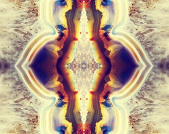Petrified Wood Flower Photograph 8x10 psychedelic kaleidoscope trippy rust amethyst vibrant colorful wall art decor cream