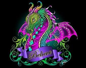 Rainbow Believe Dragon Fairy Fantasy 8x10 Signed PRINT