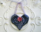 Dark Silver Heart Vintage Ceiling Tin Wall Art Metal Heart Pink Flower Magnet