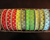 """7/8"""" Grosgrain Ribbon w/ Polka Dots--5 yards--40 Colors to Chose from--You Choose Color"""