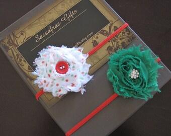 50% OFF Shabby Chiffon Christmas Flower Skinny Headbands--Sizes Newborn to Adult--White Christmas