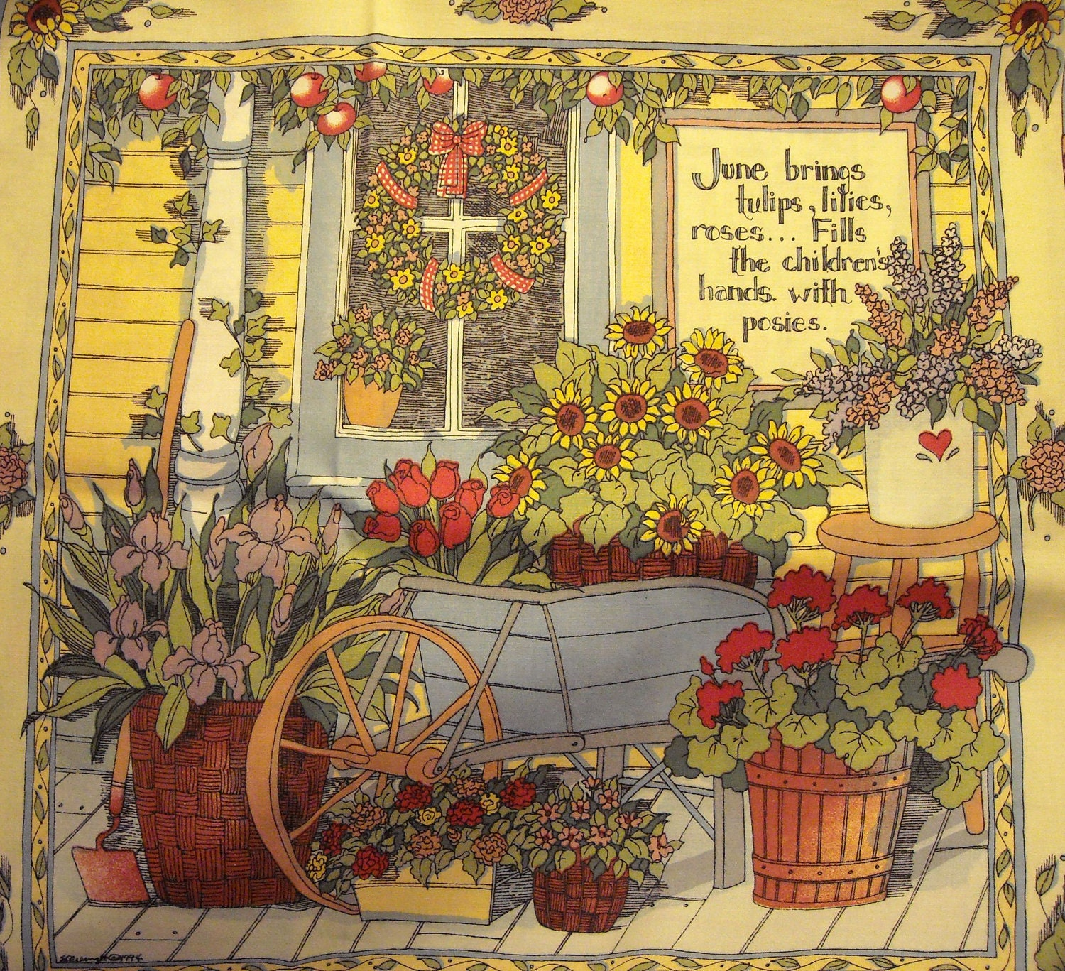1 Yard Susan Winget Garden Scenes Fabric Four Large Panels Out