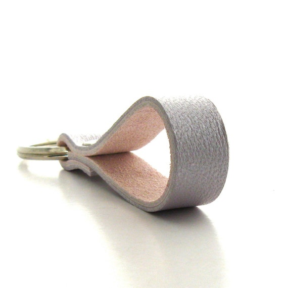 Lavender Leather Key Ring, a Handmade Leather Key Fob in Lavender Lambskin and Pink Suede