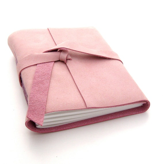 Pink Leather Journal and Sketchbook, A Handmade Journal in Pink and Lavender
