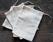 25 6x10 Cotton Muslin Natural Drawstring Bags