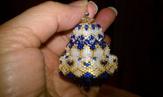 Blue beaded crystal christmas bell ornament by seesbeyond