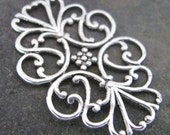 Flat Filigree Backing Layering Piece Antique Silver 1392 - 6 pieces