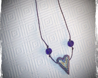 Lavender and Purple Heart Necklace with Beads