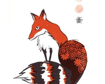 Orange Fox with daisies. Original screenprint