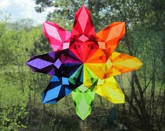 Rainbow Waldorf-Inspired Window Star Suncatcher
