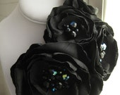 fabric flower brooch -  four bloom  corsage pin in black with faceted glass beading - Made To Order