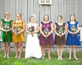 Custom fully lined bridesmaid ruffled collar dress w/ pockets, sash in many colors