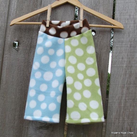 Size Medium --- Patchwork Polka Dot Fleece (diaper cover) Yoga Pants (((ready to ship)))