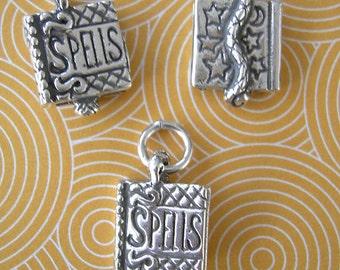 Book of Spells, Spellbook Sterling Silver Charm, Halloween