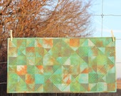 Quilted Table Runner  Spinning Nines in Hand Dyed Green Field at Sunrise