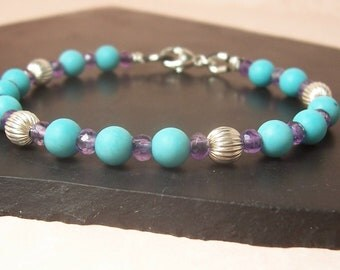 Leather Bracelet, Turquoise and Amethyst - Sterling Silver