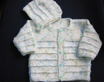 Baby Boy Sweater Ste, Hand Knitted Baby Boy Sweater and Hat 3 months old, Blue, Baby Shower Gift, Christening, Baptism