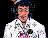 "Elvis Presley ""The King"" Drooling over a frightened Cupcake Painting or Print #440"