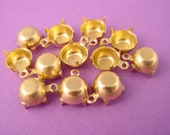 24 Brass Round Prong Settings 39SS 8mm 1 Ring Closed Back