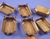 10 Brass ox Octagon  2 loop Prong Setting Connectors 25x18