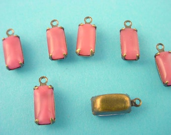 6 Vintage pink Moonstone Octagon Drop  Brass Ox Charms 10x5