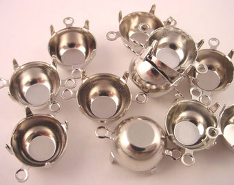 12 Silver Tone Round Prong Settings 48SS 11mm 2 Ring Closed Back connectors
