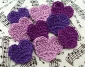 Crochet Purple Heart Appliques