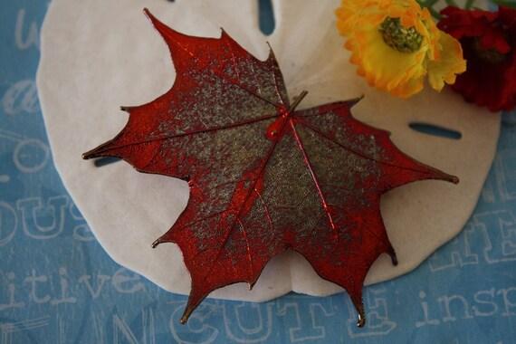 Copper Leaf Brooch, Maple Leaf, Real Leaf Pin, Real Leaf Brooch, Copper Maple Leaf, 1
