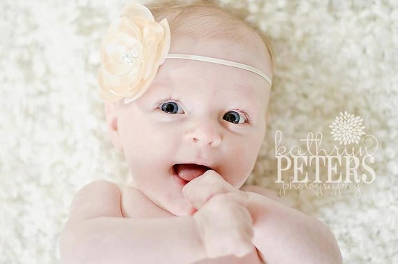 Baby Flower Headband Cream Silk Flower With Pearls Skinny Elastic Headband Photo Prop For Babies, Infants, Toddlers, Children  or Adults