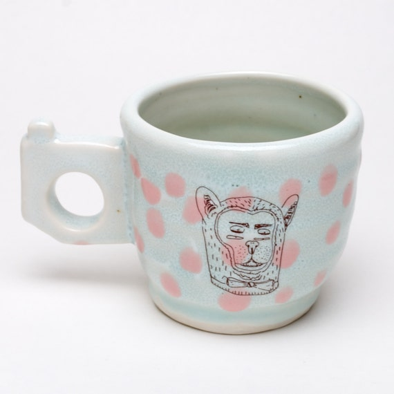 Mug with 4 Eyed Bearhead with bowtie and Cryptic Pyramid