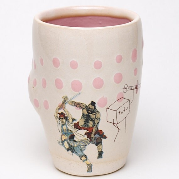Tumbler with ancient Chinese Warriors, a Tofu Cube wielding a missile, and pink dots