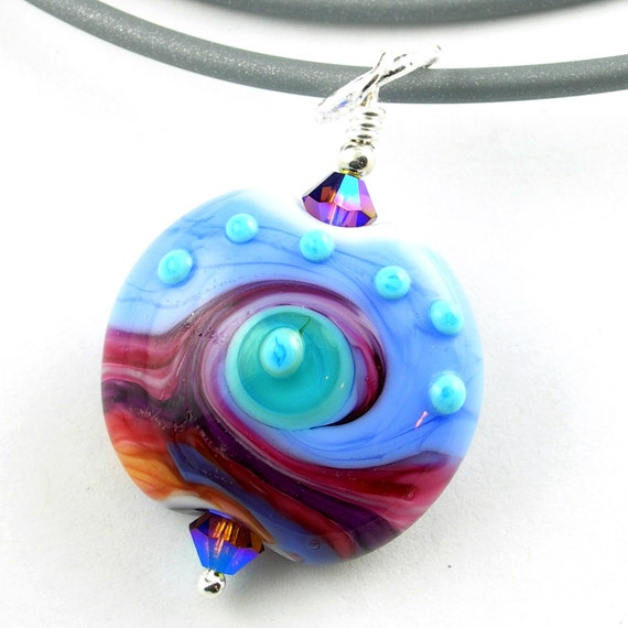 Hot Pink Turquoise Periwinkle and Purple Lampwork Glass Pendant Necklace