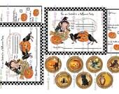 instant download HALLOWEEN DIGITAL Party INVITES rsvp Tags Vintage Pumpkins Crows Children Cats Owls Witch  Printable Digital Download
