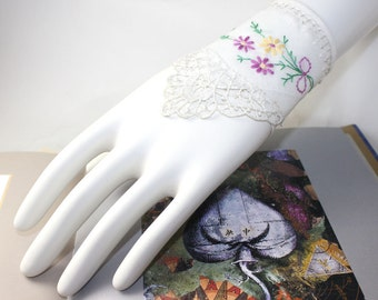 Lace Bouquet Textile Fabric Cuff Vintage Hand Embroidery Bride Ivory Purple Yellow Tatting