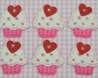Set of 6pcs handmade felt cupcake--ivory/dark carnation (FT008)