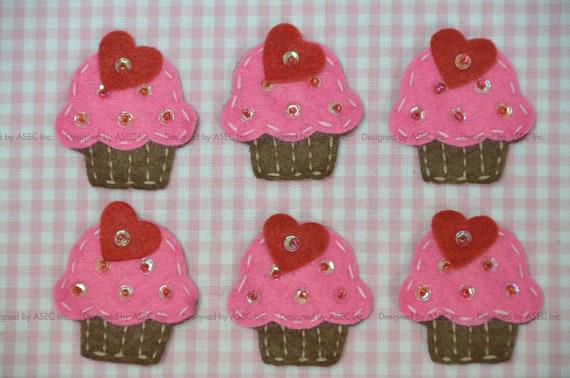 Set of 6pcs handmade felt cupcake--dark canation/chocolate (FT008)