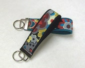 Key Fob Key Chain Wristlet  in Dark Teal   Floral
