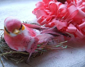 Ornament Collection 6 Wreath Bird Coral Pink Nest