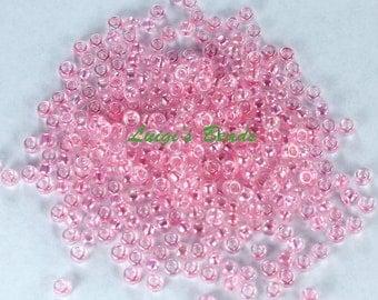 8/0 Round TOHO Japanese Glass Seed Beads #171- Dyed-Rainbow Ballerina Pink 15g